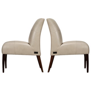 White and Gold Speck Shagreen Leather Side Chairs by Fendi Casa For Sale