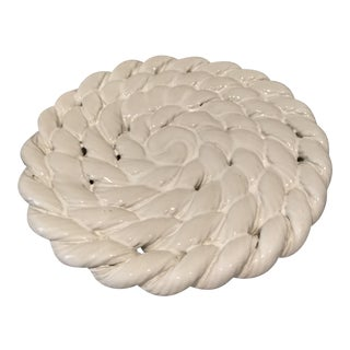 Braided Ceramic Whiteware Trivet For Sale