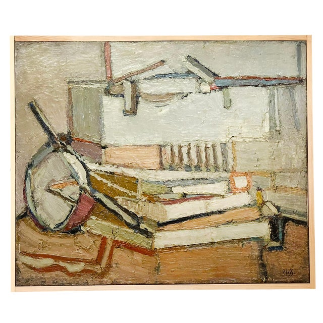 20th Century Light Still Life of Books Painting by Daniel Clesse For Sale