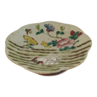 Antique Chinese Porcelain Rooster Farm Scene Plate For Sale