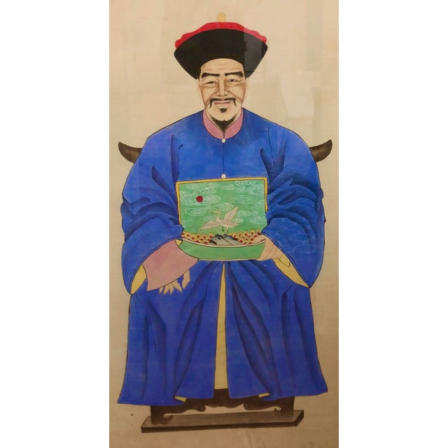 Antique Chinese Ancestor Painting With a Swan Shield. Painted on paper in a wood backed original frame.