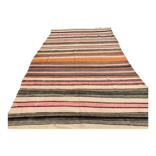 Vintage Moroccan Flat-Weave Stripe Tribal Rug For Sale