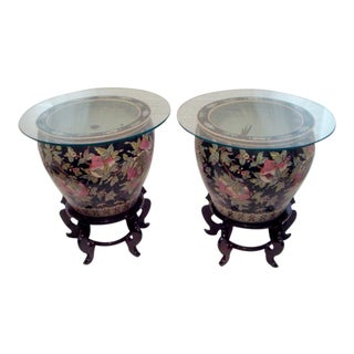 Chinese Fish Bowl Side Tables With Glass Tops - A Pair For Sale