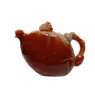 Thousand Kids Carved Pomegranate Shape Shou Shan Stone Teapot For Sale