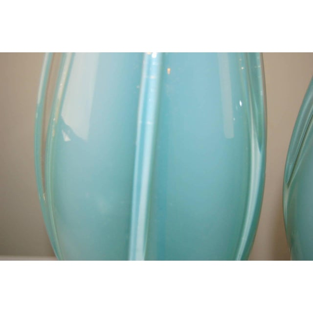 Silver Vintage Murano Opaline Glass Table Lamps Blue For Sale - Image 8 of 9