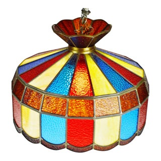 Vintage Tiffany Style Leaded Stained Glass Pendant Chandelier Light For Sale