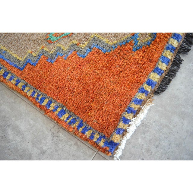 Boho Chic Distressed Low Pile Oushak Yastik Rug Faded Colors Vintage Petite Rug - 18'' X 41'' For Sale - Image 3 of 4
