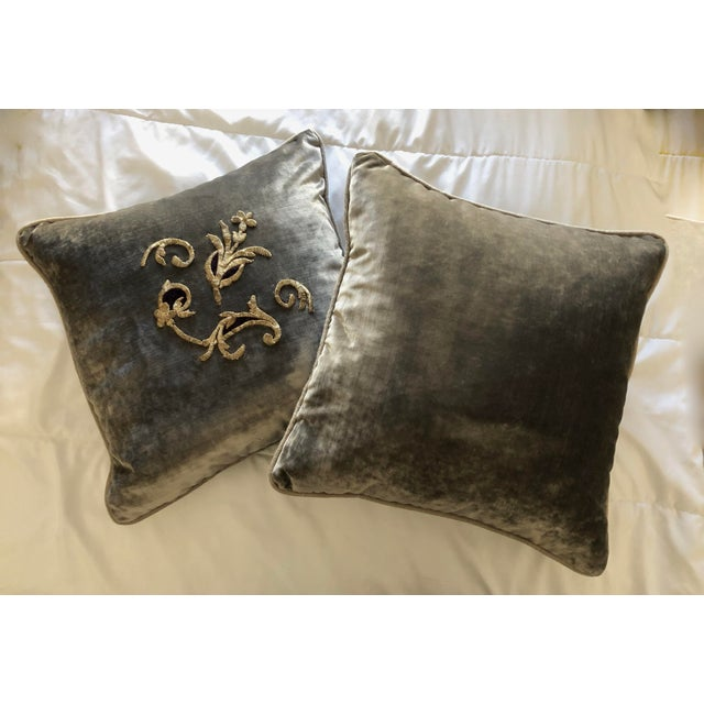 Baroque Grey Velvet Pillows Re-Designed With Antique Silver Wire Embroidery- a Pair For Sale - Image 3 of 13
