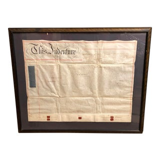 Antique British Hand Written Indenture Document in Large Frame For Sale