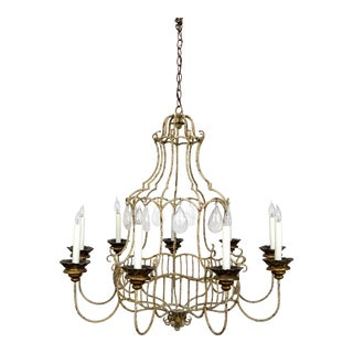 Belle Epoque Style Painted Birdcage Chandelier With Rock Crystals For Sale