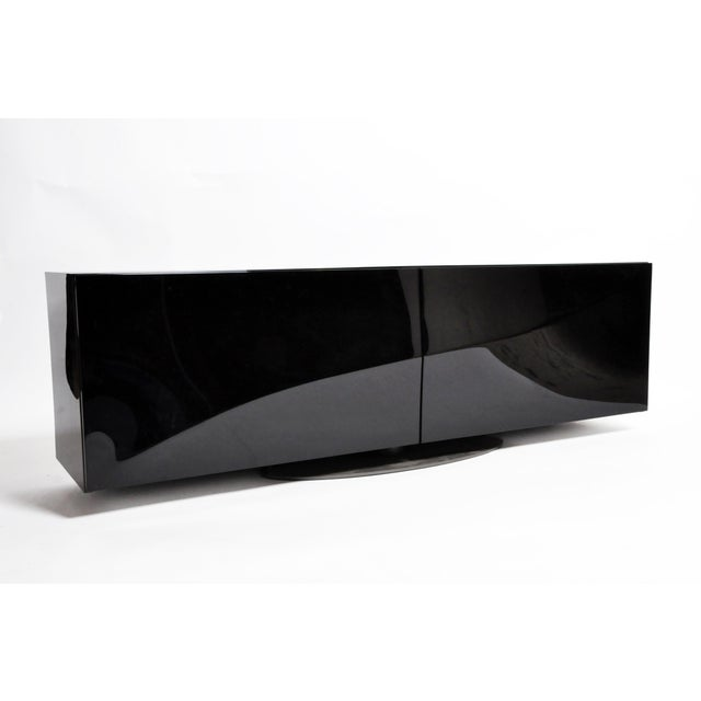 1980s Black Lacquer Console With Sliding Doors For Sale - Image 9 of 13