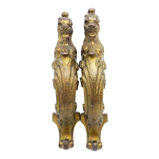 Victorian Cast Metal Golden Figural Lion Door Handles - a Pair For Sale