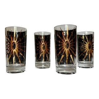 1960s Fred Press Black & Gold Celestial Mid-Century Highball Glasses - Set of 4 For Sale