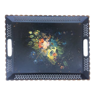 1920s Vintage Rustic Black Floral Tole Tray Surrounded by a Decorative Pierced Border For Sale