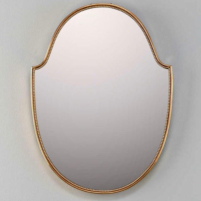 Pair Mid-Century Italian Brass Framed Modernist Mirrors - Image 3 of 4