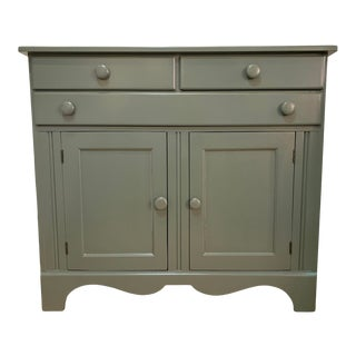 Vintage Cabinet With New Green Lacquer Finish For Sale
