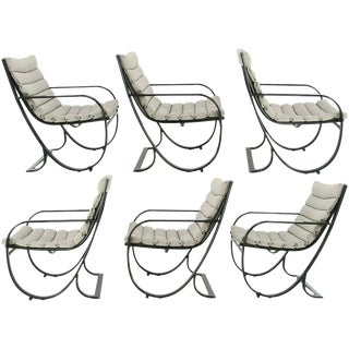 Set of Six Jay Spectre for Brown Jordan Midnight Blue Metal Dining Chairs For Sale