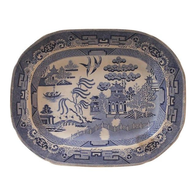 19th Century Staffordshire England Blue and White Transfer Ironstone Platter For Sale