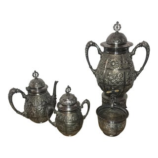 Antique Meriden B. Company Silver Plated Tea Set For Sale