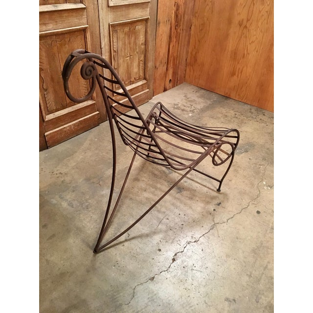 Vintage Mid Century Andre Dubreuil Style Iron Spine Chair For Sale In Los Angeles - Image 6 of 11