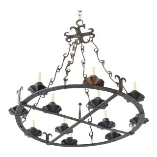 Large Forged Spanish Chandelier For Sale
