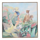 Image of Art Deco Style Monumental Massive Art Painting of Tropical Cheetah For Sale