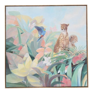 Art Deco Style Monumental Massive Art Painting of Tropical Cheetah For Sale