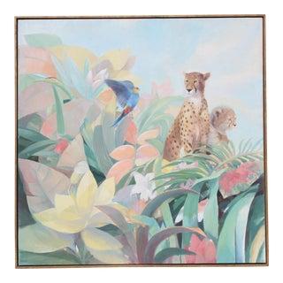 Art Deco Style Monumental Massive Art Painting of Tropical Cheetah