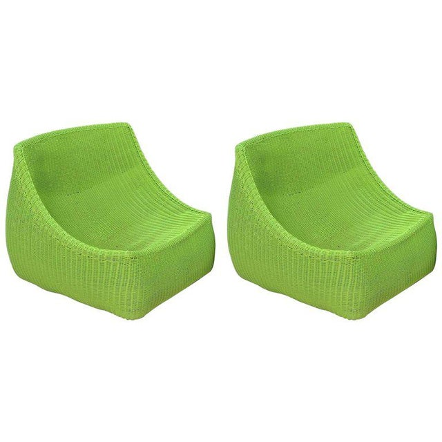 Woven Fiberglass Lime Green Lounge Chairs - A Pair - Image 6 of 6