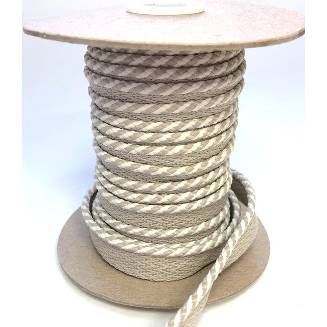 """Taupe Braided 1/4"""" Indoor/Outdoor Cord in White/Sand For Sale - Image 8 of 9"""