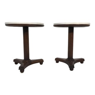 Marble Top Drinks Table - A Pair