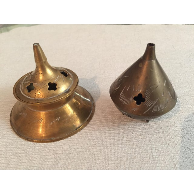 Vintage Brass Incense Holders - 2 Pieces For Sale - Image 12 of 12