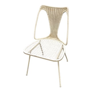 Mid-Century Metal and Rattan Eames Style Chair