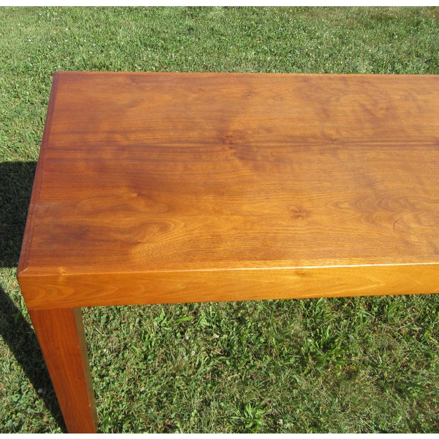 Tan Mid-Century Modern Teak Sofa /Hall Table Signed Paine's Furniture For Sale - Image 8 of 10
