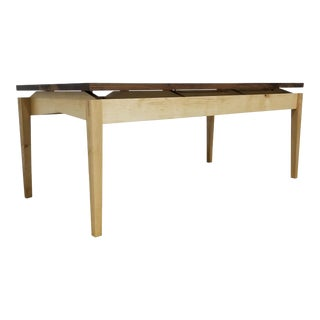 Danish Modern Floating Top Walnut and Maple Coffee Table For Sale