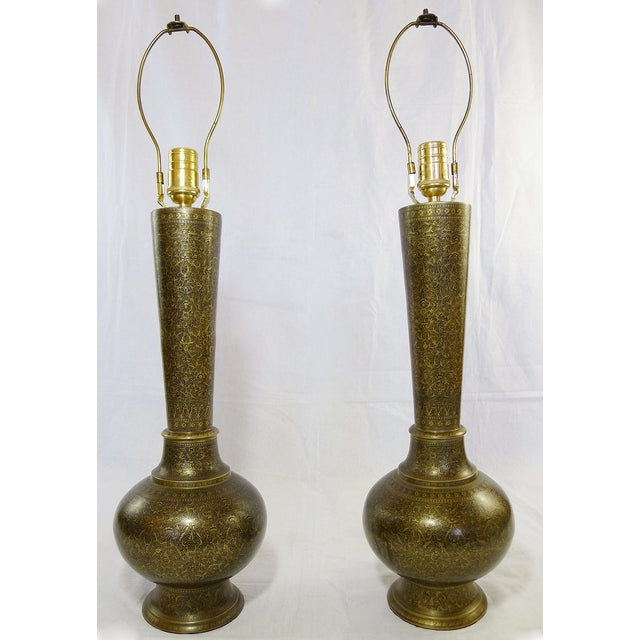 Vintage Indian Hand Painted Brass Lamps - A Pair - Image 2 of 5