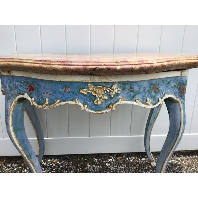 Early 19th Century Venetian Painted Marble Top Console Table For Sale - Image 5 of 12