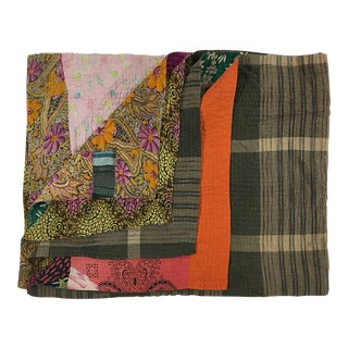 Plaid and Posy Rug and Relic Kantha Quilt
