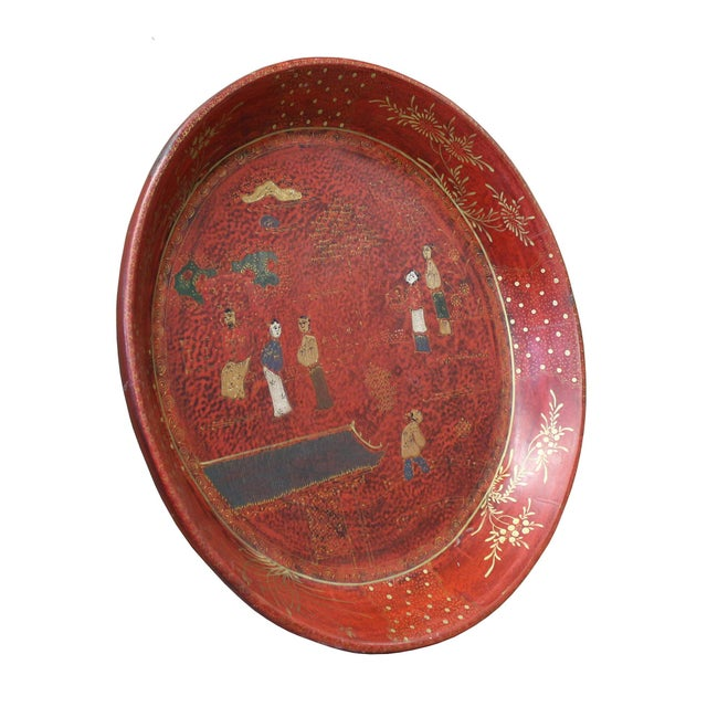 Chinese Red Lacquer Golden Scenery Round Tray Display Art For Sale - Image 4 of 7