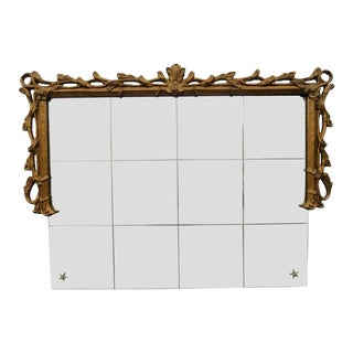 Vintage Rococo Style Over-Mantel Half Frame Mirror With Gold Finish For Sale