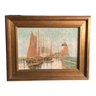 19th Century Dutch Oil Painting of a Canal Scene in the Polders, Framed For Sale