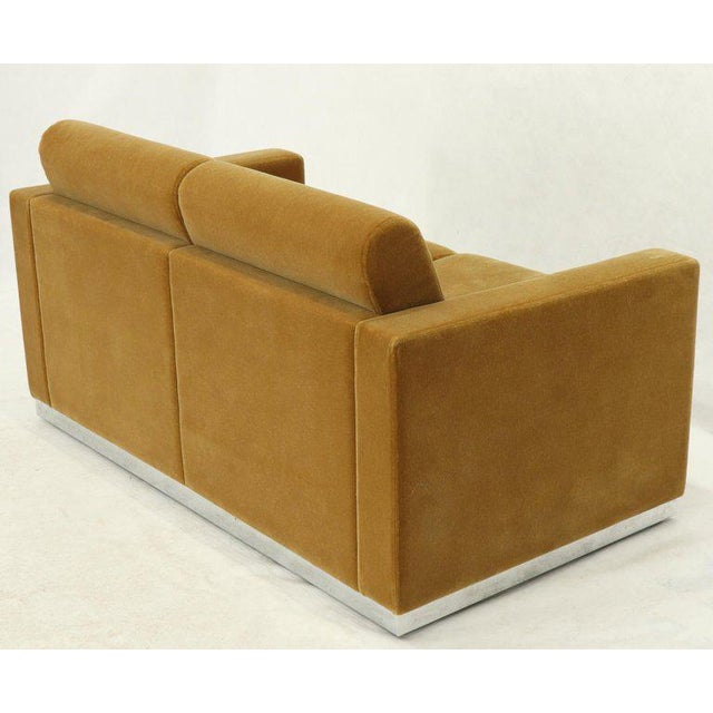 Mohair Loveseat on High Polish Stainless Steel Base Ward Bennet for Brickel For Sale - Image 6 of 12