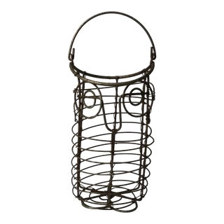 1970s Rustic Wire Owl Basket For Sale
