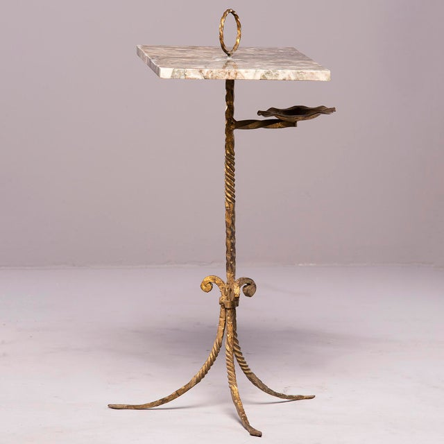 Metal Spanish Marble and Gilt Iron Side Table With Ashtray Holder For Sale - Image 7 of 12