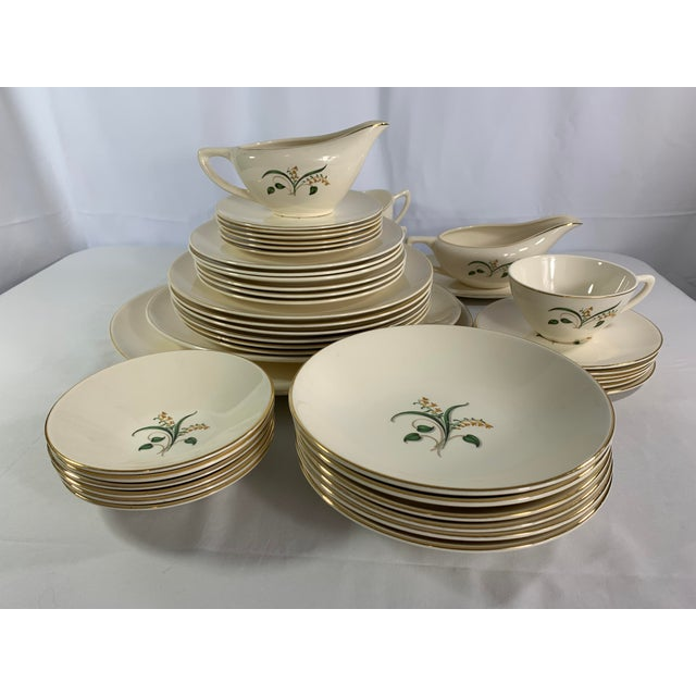 Vintage Forsythia Pattern by Edwin Knowles China Company Dinnerware - 47 Piece For Sale - Image 13 of 13