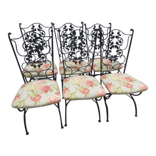 Russell Woodard Style Patio Wrought Iron Dining Chairs- Set of 6 Last Call For Sale