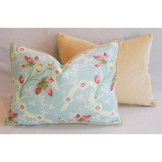 Powder Blue Scalamandré Floral Brocade Pillows - A Pair - Image 11 of 11
