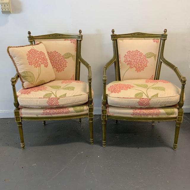 Italian Upholstered Arm Chairs- A Pair For Sale - Image 10 of 10