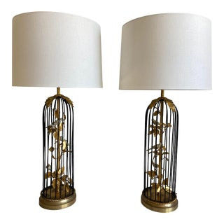 1950s Italian Birdcage Lamps & Shades - a Pair For Sale