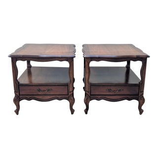 Mid Century Vintage Two-Tier Hammary Side Tables– A Pair For Sale